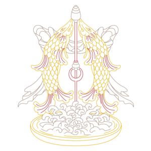 spiritual graphic design, graphisme spirituel, graphisme, spirituel, bien-être, motif, digital artwork, illustration, Inde, poissons d'or, matsya, auspicious, sign, signes, auspicieux, buddhism, bouddhisme, tibet, dharamshala, 8 signes, astamangala