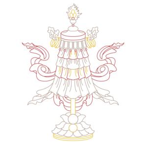 spiritual graphic design, graphisme spirituel, graphisme, spirituel, bien-être, motif, digital artwork, illustration, Inde, banniere victoire, drapeau roule, Dvaja, auspicious, sign, signes, auspicieux, buddhism, bouddhisme, tibet, dharamshala, 8 signes, astamangala