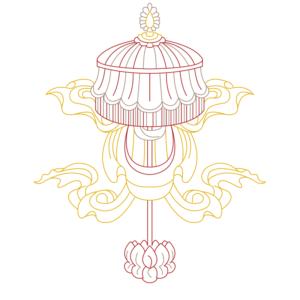 spiritual graphic design, graphisme spirituel, graphisme, spirituel, bien-être, motif, digital artwork, illustration, Inde, ombrelle, parasol royal, chatra, auspicious, sign, signes, auspicieux, buddhism, bouddhisme, tibet, dharamshala, 8 signes, astamangala