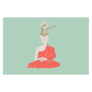 spiritual graphic design, graphisme spirituel, singe, sagesse, wisdom monkey, trois singes, graphisme, spirituel, bien-être, motif, digital artwork, illustration, Inde