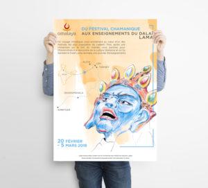 spiritual graphic design, graphisme spirituel, graphisme, spirituel, affiche, poster, bien-être, motif, digital artwork, illustration, Inde, saga dawa, tibet, bouddha, tibétain, cérémonie, voyage, spirituel, omalaya, travel, spiritual, map, moine, monk, dalai lama, festival, chamanisme, chamane, shaman